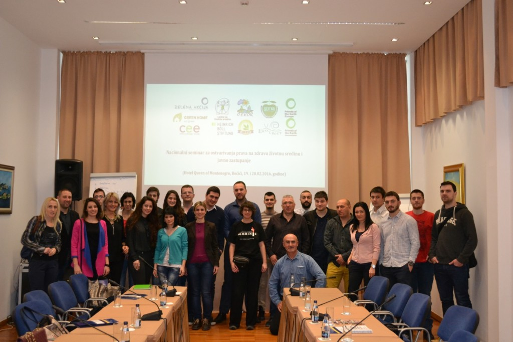 """Training for exercising the right to a healthy environment and public advocacy"" held in Montenegro"